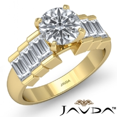 Baguette Cut Channel Set Round diamond engagement Ring in 14k Gold Yellow