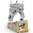 Diamond Princess Antique & Vintage Semi Mount Engagement Halo Setting Ring 14k White Gold 2.25Ct - javda.com