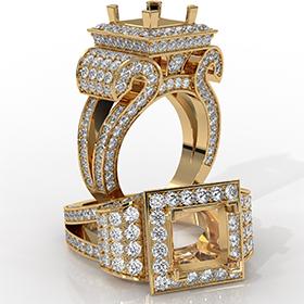 Diamond Princess Antique & Vintage Semi Mount Engagement Halo Setting Ring 18k Gold Yellow  (2.25Ct. tw.)