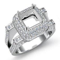 1.75CT Diamond Engagement Ring Princess Semi Mount Halo Setting 14k White Gold