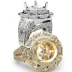 Antique Engagement Halo Setting Ring Platinum 950 Round Shape Diamond Semi Mount 1.7Ct - javda.com