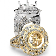 Antique Engagement Halo Setting Ring 18k Gold White Round Shape Diamond Semi Mount  (1.7Ct. tw.)