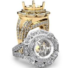 Antique Engagement Halo Setting Ring 18k Gold Yellow Round Shape Diamond Semi Mount  (1.7Ct. tw.)