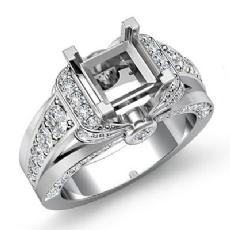 1.35C Diamond Engagement Semi Mount Ring 14k White Gold Knot Shape Shank Setting