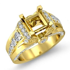 Diamond Engagement Semi Mount Ring 18k Gold Yellow Knot Shape Shank Setting (1.35Ct. tw.)