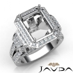 Emerald Diamond Antique & Vintage Semi Mount Engagement Ring 14k White Gold Halo Setting 2.4Ct - javda.com