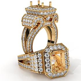 Emerald Diamond Antique & Vintage Semi Mount Engagement Ring 18k Gold Yellow Halo Setting  (2.4Ct. tw.)