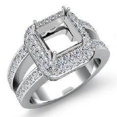 1.25 CT Halo Setting Diamond Engagement Princess Semi Mount Ring 14K White Gold