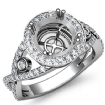 1.4Ct Diamond Engagement Ring 14k White Gold Round Semi Mount Halo Pave Setting - javda.com