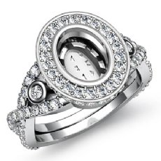1.65 CT Diamond Engagement Ring Halo Pave Setting 14k White Gold Oval Semi Mount