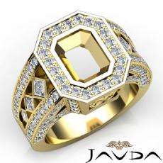 Emerald Semi-Mount Vintage Diamond Engagement Ring Halo Pave Setting 18k Gold Yellow  (2.3Ct. tw.)