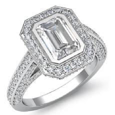 Halo Bezel Set Pave Bridge Emerald diamond engagement Ring in 14k Gold White