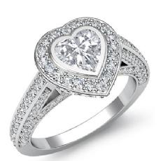 Halo Bezel Bridge Accent Heart diamond engagement Ring in 14k Gold White