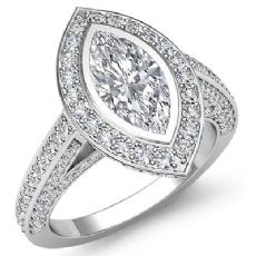 Bezel Set Halo Accent Bridge Marquise diamond engagement Ring in 14k Gold White