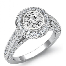 Halo Pave Bezel Set Bridge Round diamond engagement Ring in 14k Gold White