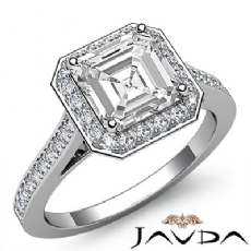Bezel Accent Halo Pave Princess diamond engagement Ring in 14k Gold White