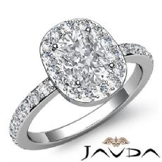 Circa Halo Sidestone Pave Set Cushion diamond engagement Ring in 14k Gold White
