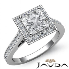 Halo Pave Bezel Set Princess diamond engagement Ring in 14k Gold White