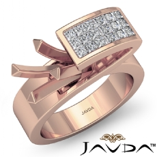 Princess Semi Mount Diamond Engagement Women Anniversary Ring 14k Rose Gold (0.55Ct. tw.)