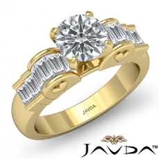 Baguette Channel Set Peg Head Round diamond engagement Ring in 14k Gold Yellow