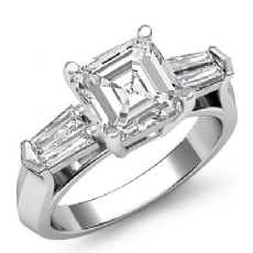Classic Baguette 3 Stone Asscher diamond engagement Ring in 14k Gold White