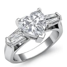 Classic Baguette 3 Stone Heart diamond engagement Ring in 14k Gold White
