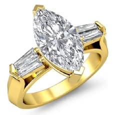 Classic Baguette 3 Stone Marquise diamond engagement Ring in 14k Gold Yellow