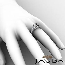 1.20Ct Princess Side Diamond Engagement Ring Channel Setting 14K W Gold Semi Mount