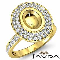 Halo Pave Setting Diamond Engagement Oval Semi Mount Ring 14k Gold Yellow (0.75Ct. tw.)