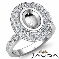 Halo Pave Setting Diamond Engagement Oval Semi Mount Ring Platinum 950 (0.75Ct. tw.)
