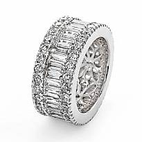 Women's Wedding Ring Baguette Round Diamond Eternity Band 14k White Gold 5.7Ct