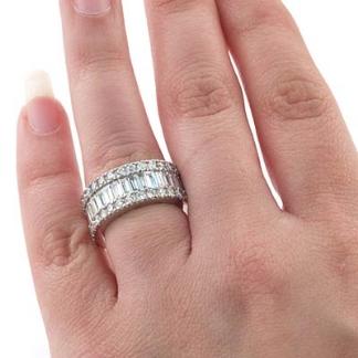Womens Wedding Ring Baguette Classic Round Diamond Eternity Band ...