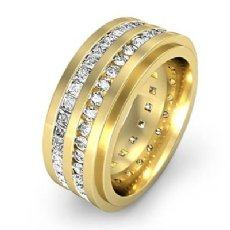 2 Row Men's Round & Princess Diamond Eternity Wedding Band 14k Gold Yellow  (2.5Ct. tw.)