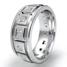 Princess Diamond Men's Eternity Wedding Band 14k W Gold 9.25mm Solid Ring 1.4Ct