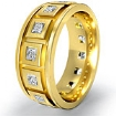 Princess Diamond Men's Eternity Wedding Band 18k Gold Yellow 9.25mm Solid Ring 1.4Ct