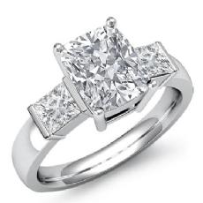 Classic Three Stone Bar Set Cushion diamond engagement Ring in 14k Gold White