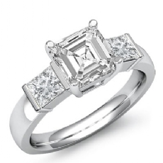 Classic Three Stone Bar Set Asscher diamond engagement Ring in 14k Gold White