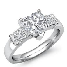 Classic Three Stone Bar Set diamond Ring 14k Gold White