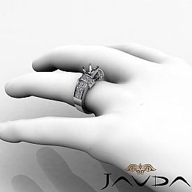 1.96Ct Diamond Engagement Women Ring 14K White Gold Princess Invisible Semi Mount