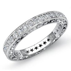 Round Pave Diamond Star Eternity Wedding Ring Platinum 950 Womens Band  (0.45Ct. tw.)