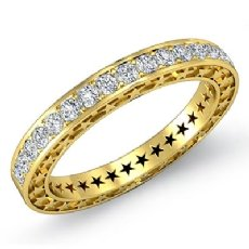 Round Pave Diamond Star Eternity Wedding Ring 18k Gold Yellow Womens Band  (0.45Ct. tw.)