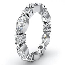 Classic Women's Eternity Band 14k White Gold Marquise Round Diamond Ring 1.62Ct