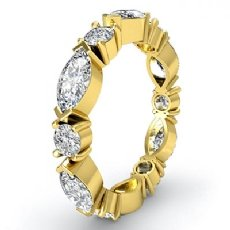 Classic Women's Eternity Band 14k Gold Yellow Marquise Round Diamond Ring  (1.62Ct. tw.)