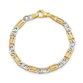 """14k Tri Color Gold Men Fancy Link Bracelet (6mm,8.25"""",17.1g)"""