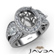 Vintage 3Stone Oval Diamond Engagement Halo Ring Setting 14k White Gold Semi Mount 1.85Ct - javda.com