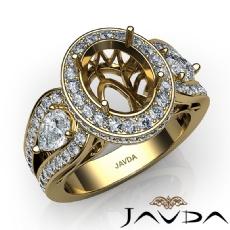 Vintage 3Stone Oval Diamond Engagement Halo Ring Setting 18k Gold Yellow Semi Mount  (1.85Ct. tw.)