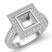 2.15Ct Diamond Engagement Ring 14k White Gold Princess Shape SemiMount Halo Setting - javda.com