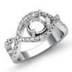 0.5Ct Diamond Engagement Ring Halo Pave Setting 14k White Gold Round Semi Mount - javda.com