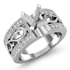 0.55Ct Round Diamond Fashion Wedding Ring 14K White Gold Semi Mount Pave Setting
