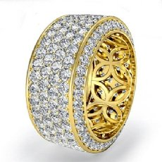10mm Womens Eternity Pave Diamond Wedding Anniversary Band  18k Gold Yellow (3.5Ct. tw.)